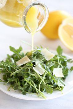Refreshing spring and summer salad   arugula salad with lemon vinaigrette