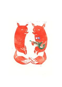 Mister Fox in love Art Print