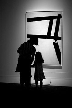 "Mother and child in front of a Franz Kline painting at the Art Gallery of Ontario's ""Abstract Expressionist New York: Masterpieces from the Museum of Modern Art"" Show, 2011."