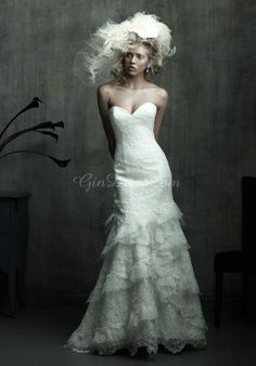 Lace Mermaid Sweetheart Sleeveless Court Train With Ruffles Wedding Dress picture 1