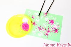 Drinking Straw Flower Painting. Painting Ideas for Kids. Blumen malen mit Strohhalmen