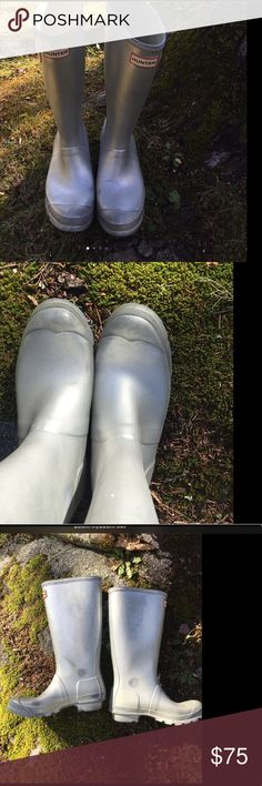 Silver Hunter boots 🌧Tall silver Hunter boots. Has some scuffs and a scratch on the outside of the right boot. Kids size 5M/6F but I wear a 7 & they fit loosely on me. Buckles in tact.  Will add more pics soon. 🌧 Hunter Boots Shoes Winter & Rain Boots