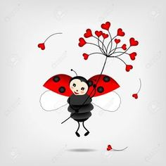 Illustration of cute ladybug holding big red flower vector art, clipart and stock vectors. Flower Vector Art, Ladybug Art, Desenho Tattoo, Clip Art, Heart Art, Cute Illustration, Red Flowers, Rock Art, Royalty Free Images