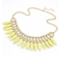 Yellow rhinestone statement necklace Statement necklace Jewelry Necklaces