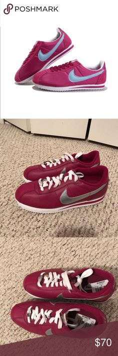 Nike women's Cortez 1972 sneaker These NWT Nike tennis shoes are so cute! They're the Cortez style sneaker with a purple plum pink color leather exterior, white laces, and silver accents. New, never worn and with tags. Size 7. Nike Shoes Sneakers