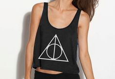 Deathly Hallows Crop Tank - Fits Many Sizes - Simple Minimal Design - Harry Potter Gift - Flowy Women Hipster Girls Teen Shirt via Etsy