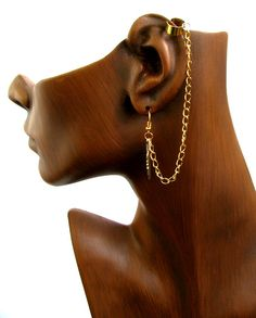 Ooak Gold Feather Cartilage Earring With Cuff Slave Lobe And