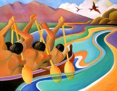 Hawaiian art - Paddlers by Maui artist Beth Marcil Tahiti, Artistic Visions, Outrigger Canoe, Polynesian Art, Hawaiian Art, Tropical Art, Surf Art, Maui Hawaii, Beach Art