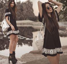 Novas mulheres de verão dress o-pescoço curto-de mangas compridas estilo nacional impresso roupas femininas casual vestidos mini dress boho vintage preto