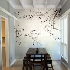Dining Room decor ideas - rustic, natural style with painted mural accent wall, dark wood rustic table and open beam painted white ceiling.