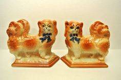 Antique Victorian Set of Staffordshire Dogs from Scotland Hearth Spaniels Fireplace Dogs Wally Dugs Matching Dog Figurines by WallflowerAntiques on Etsy