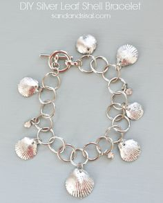 DIY Silver Leaf Seashell Bracelet