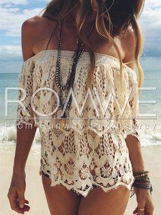 White Off The Shoulder Crochet Lace Blouse