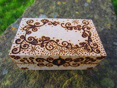 Small decorative pyrography box Jewellery and by MuddyMandala