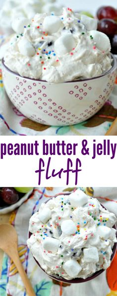 Studded with fresh grapes and marshmallows, Peanut Butter and Jelly Fluff is a salty and sweet side dish or dessert that nobody can resist!