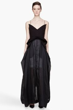Denis Gagnon Black Structured Layered Jersey And Linen Dress