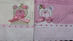 LOY HANDCRAFTS, TOWELS EMBROYDERED WITH SATIN RIBBON ROSES: URSAS