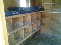 smaller chicken  house with home made nesting boxes.