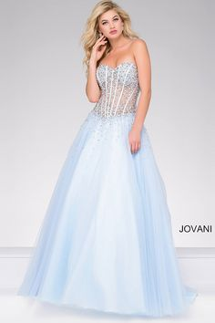 10bcc36004f1 Blue Strapless Embellished Tulle Ballgown 47131
