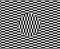 Optical illusion -fill with design, get a shape on a new layer, cut on design layer and free transform, rotate it.