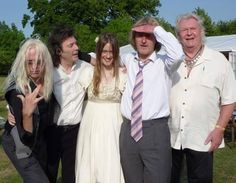 Steve & Jo's wedding day. Also pictured: Nick Beggs (far left), Chris Squire (far right), Anthony Phillips (center).