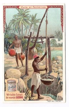 Afrique  africain  jarre à eau - Puit fontaine - Chromo Liebig - Trade Card