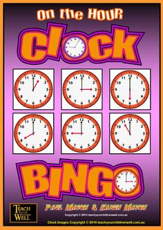 Clock BINGO - On the HOUR - The FREE product contains 8 Bingo Cards.  Perfect for a group activity or learning center.  It provides you with a useable product and allows you to evaluate the quality of both the clock clip art and the other Clock Bingo games.  Enjoy the Free product.