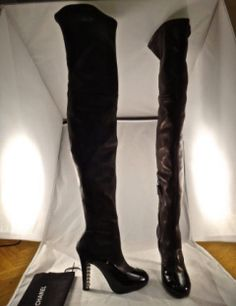Chanel Tall 14B Thigh High Leather Stretch OTK Patent Pearl Boot