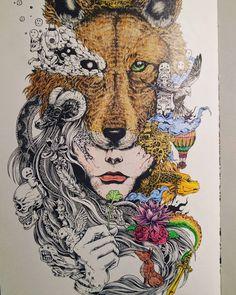 WIP from Sketchy Stories #sketchystories #animorphia #kerbyrosanes #doodlemorphia #colouringforadults #coloring #colouring #coloringforadults #art #ilovecolouringin #ilovecolouring #colouringfun #prismacolor #albrechtdurer #gelpen #copic #wellbeing #doodle #carand'ache #luminance #polychromos #fabercastell #imagimorphia
