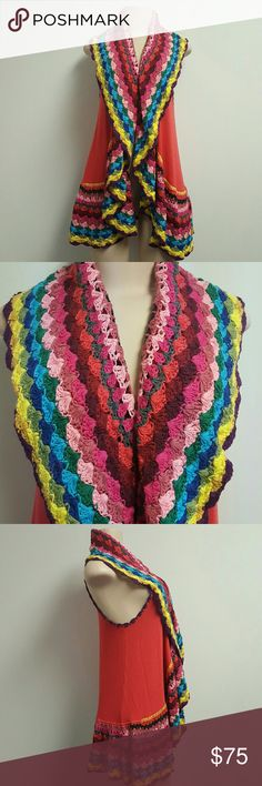 NWOT DOUBLE ZERO colorful crochet long vest / top NWOT DOUBLE ZERO colorful crochet long vest / top. Pink vest top with amazing crochet detail in various vibrant colors. Crochet detail around armpit as well. This isba favorite for sure!!! Double Zero Tops Blouses