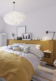 Chambre parentale avec tête de lit moutarde, inspiration scandinave, hygge. Un projet de rénovation qu'on a adoré !