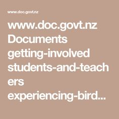 www.doc.govt.nz Documents getting-involved students-and-teachers experiencing-birds-in-your-green-space.pdf
