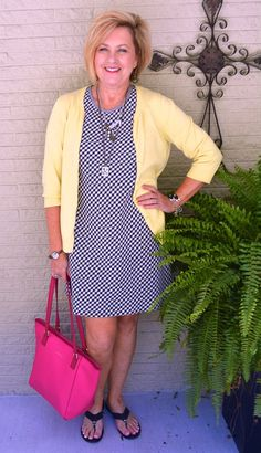50 IS NOT OLD   BLACK & WHITE WITH A TOUCH OF YELLOW   Transition Outfit   Pop of Color   Accessorize   Fashion over 40 for the everyday woman