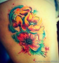 Poppy Flower Tattoo Long Beach Paper Crane Studio Kris Notch