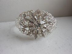 Flower  rhinestone filigree cuff upcycled vintage by 2007musarra, $42.99