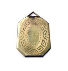 Art Deco Locket, Gold Filled, Embossed Greek Key, Octagon Shape, Sweetheart Jewelry, Antique Jewellery by zephyrvintage on Etsy