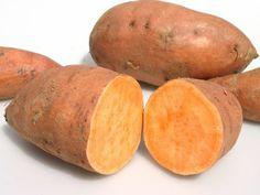 ZOETE AARDAPPEL (BATAAT) - Knolgewas en geen familie van de gewone aardappel, hoge concentratie vezels, laag glycemische index (geen snelle koolhydraten), gaat insulinepiek tegen, zorgen voor een vol gevoel en lang energie, veel vitamines A en C