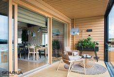 We are in love with this beautiful Scandinavian home House Siding, Outdoor Furniture Sets, Outdoor Decor, Scandinavian Home, Monet, Outdoor Gardens, Balcony, Construction, Windows