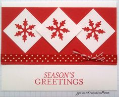 Super Easy Christmas Card - Snowflake punches on the white squares.
