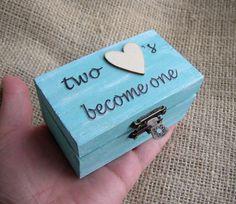 Rustic Ring Bearer Box  Something Blue  Wedding Ring by FloroMondo, $18.00