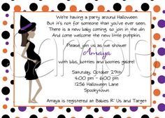 Printable Halloween Pregnant Witch Baby Shower Invitation