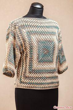 *Бабушкин квадрат - Все в ажуре... (вязание крючком) - Страна Мам Moda Crochet, Crochet Ripple, Freeform Crochet, Cute Crochet, Crochet Lace, Crochet Cardigan Pattern, Granny Square Crochet Pattern, Crochet Blouse, Crochet Patterns