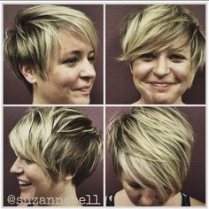Messy, Layered Hairstyle with Side Bangs: Short Haircuts for Heart Face Shape
