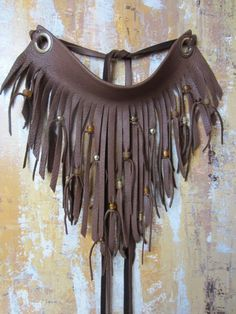 Items similar to Leather Fringe Beaded Bib Necklace Brown Leather Neck Cuff Bohemian Jewelry on Etsy - Genuine Leather Long Leather Fringe Necklace Beaded Neck cuff choker Carefully hand sliced strips - Fringe Necklace, Diy Necklace, Leather Necklace, Leather Jewelry, Leather Craft, Metal Beads, Silver Beads, Glass Beads, Brass Metal