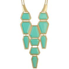 Fun Turquoise Blue Statement Necklace ($41) ❤ liked on Polyvore