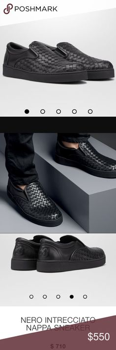 """•$710 RETAIL• BOTTEGA VENETA INTRECCIATO SNEAKERS •$710 + TAX TAX RETAIL• BOTTEGA VENETA INTRECCIATO SLIP ON SNEAKERS MEN SIZE 10 (outside sole: 10.5"""" or 27cm long) CAN FIT WOMENA. STILL SOLD IN STORE THESE ARE ULTIMATE SHOES IN FASHION (no box included because I collect them). Purchased directly in store 100% AUTH GUARANTEED. Worn & loved, worn about 20x. light normal signs of wear on the soles, wear inside the shoe, and a small scuffing on leather shown on the shown, can't see unless…"""