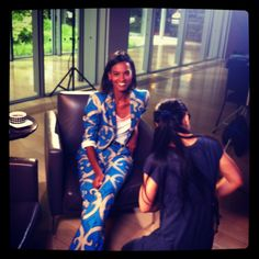 liya at her T magazine shoot wearing our printed suit from the fall 2012 collection.