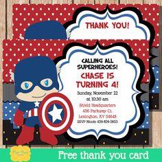 Captain America Invite Captain America by PiperGraceDigital