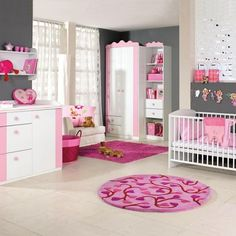 décoration chambre bébé fille stickers tour lit rose fuchsia poudré ...