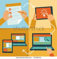Vector web design process - icons and illustrations in flat style - stock vector